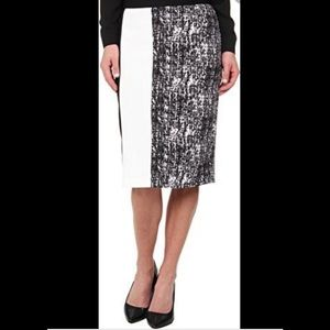 Vince Camuto Black and White Panel Pencil Skirt